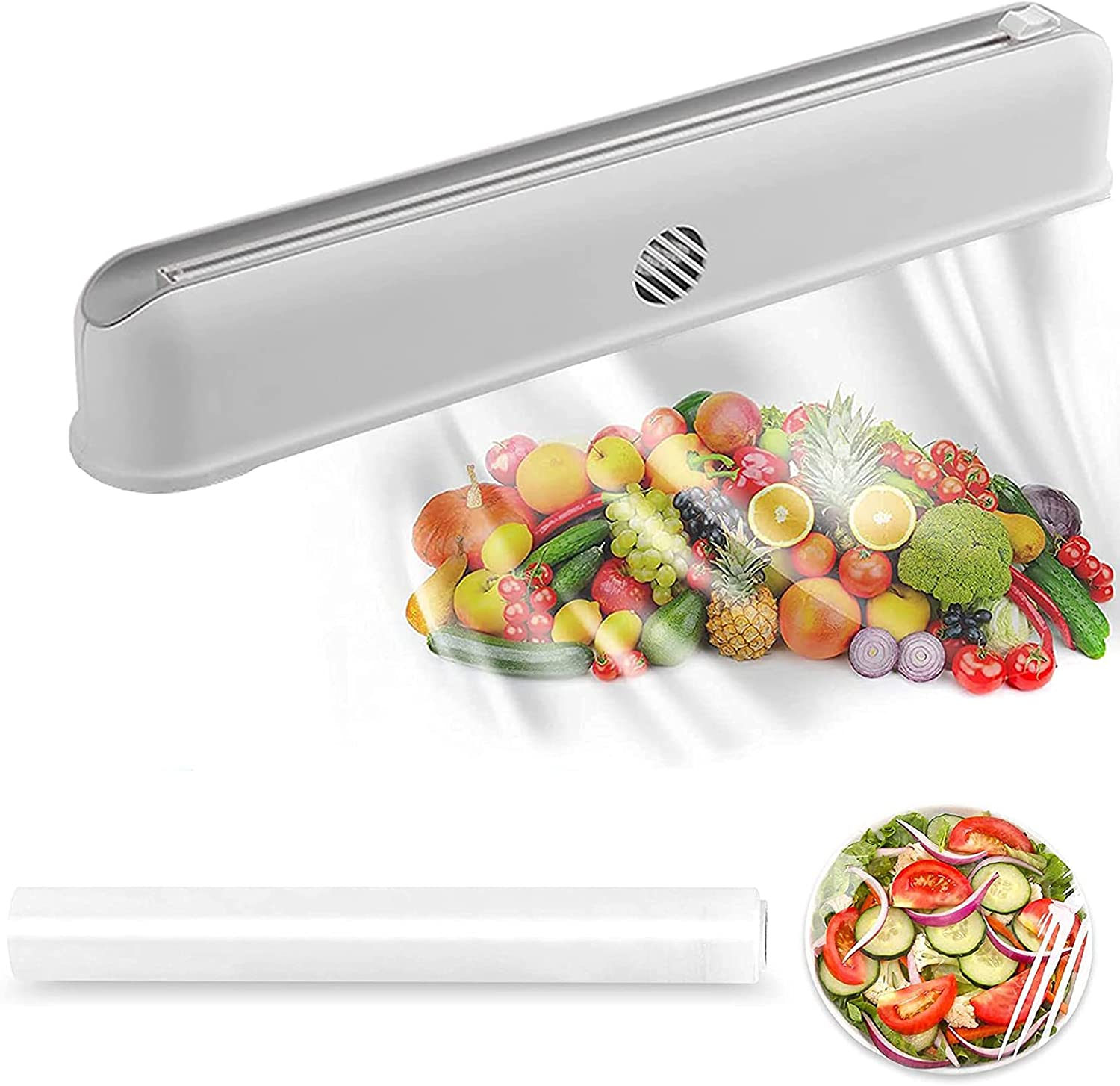 Plastic Wrap Dispenser with Slide Cutter Household Reusable Cling Film Dispenser with Magnet and Suction Cup Fixed,Wall Mount Tin/Aluminum Foil Dispenser,1 Roll Plastic Food Wrap Included…