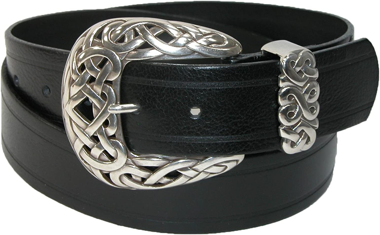 Belt Shak Womens Italian Leather Belt with Celtic Knot Buckle, Large, Black