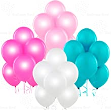 Pearl White, Pearl Pink, Pearl Fuchsia, Aqua 12 Inch Pearlescent Thickened Latex Balloons, Pack of 24, Pearlized Premium Helium Quality for Wedding Bridal Baby Shower Birthday Party Decorations Supply