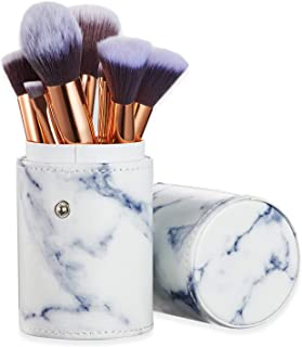 Ruesious Marble Makeup Brush Set with Brush Holder Pot | Premium Synthetic Foundation Powder Concealers Blending Eye Shado...