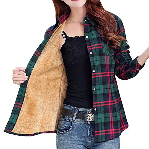 ce7ce8c4111 Totoship Long Sleeve Plaid Flannel Warm Shirt Fleece Lined Blouse up