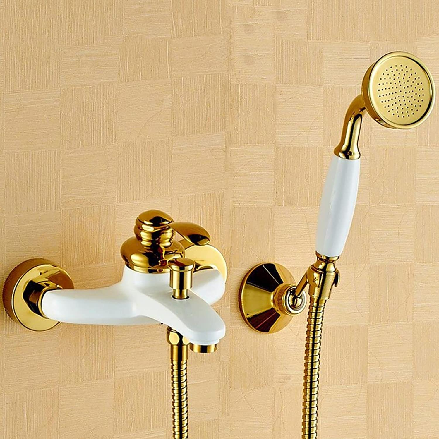 PLYY Retro Tub Shower Handshower Included Ceramic Valve Single Handle Two Holes Brass Bathtub Mixer Taps