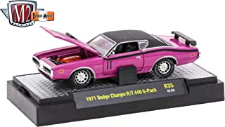 M2 Machines 1971 Dodge Charger R/T 440 6-Pack (Panther Pink) - Detroit Muscle Release 35 2016 Castline Premium Edition 1:64 Scale Die-Cast Vehicle (R35 16-24)