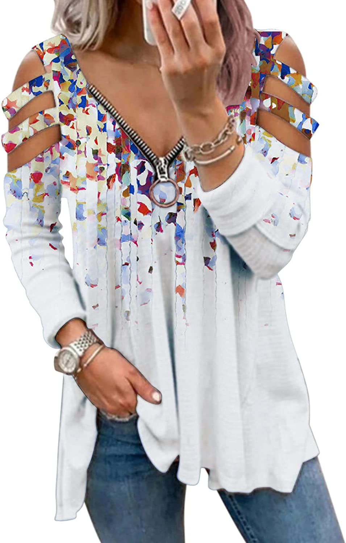 Sweatshirts for Women,Women Zip Up Sweatshirts Teen Girls Long Sleeves Off Shoulder Flower Print Vintage Pullover