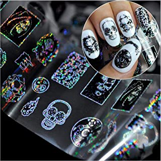 Halloween Nail Art Stickers Punk Style,Novel Skull Bone Zombie Design Nail Sticker Transfer Decals Decoration for Manicure DIY or Nail Salon (Zombie Nail Foils Sticker)