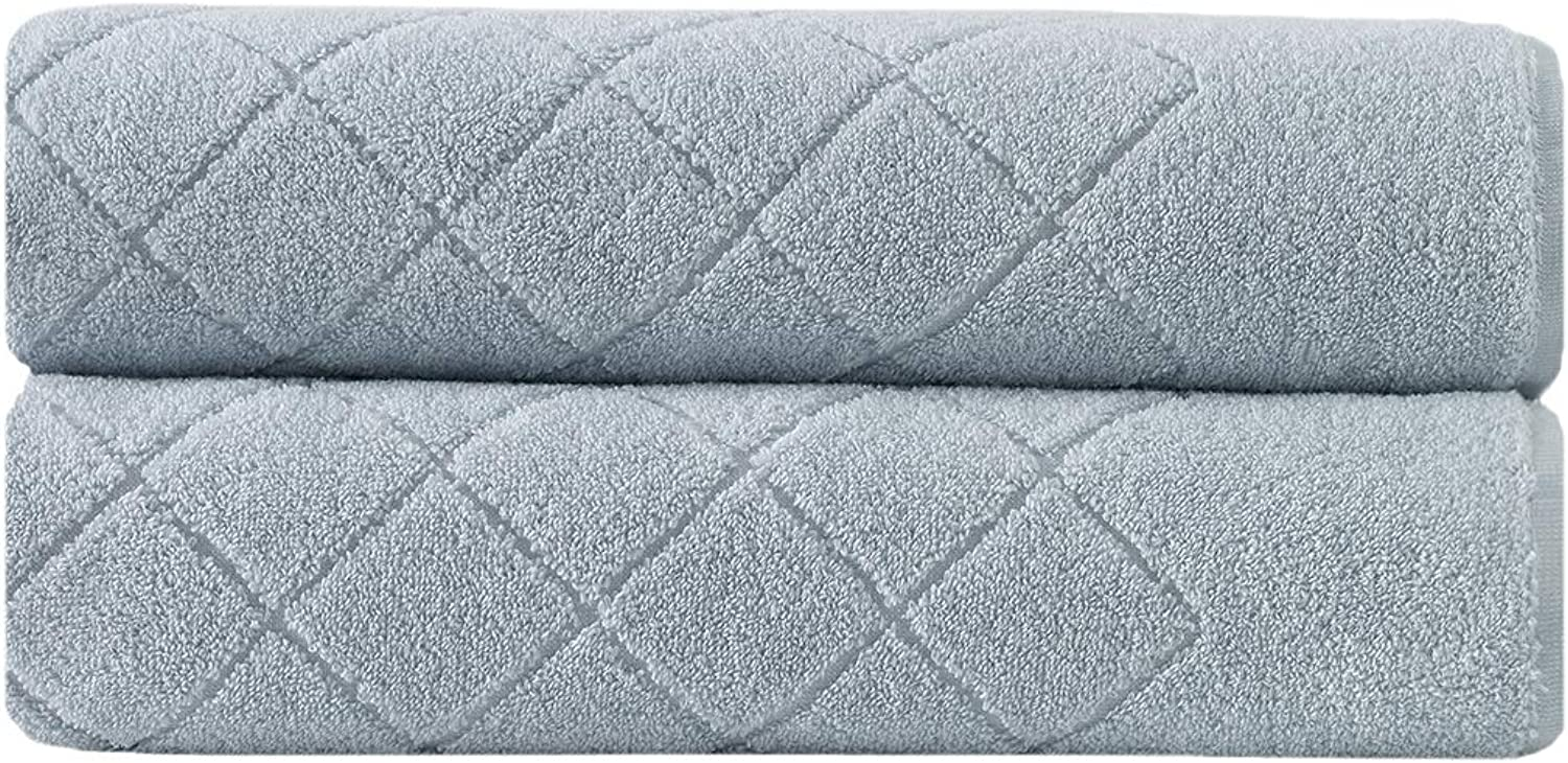 Enchante Home 2-Pack 100% Turkish Cotton Luxury Bath Sheet Towel Set for Bathroom & Spa - Quality Soft & Absorbent Bath Towels Extra Large (XL)- Jacquard Gracious Design (Light bluee)