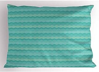 4Pcs 18X18 Inch Funda De Almohada Abstracta,Ilustración De Líneas Finas De Zigzags Con Rayas Rítmicas Simétricas En Colores Pastel,Decoración Para El Hogar Funda De Almohada Impresa King Size Estándar