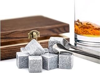 Whisky-Steine in Holzbox Speckstein f. Getränke Eiswürfel Kühlsteine Premium Selection Marke PRECORN