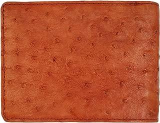 Genuine Ostrich Skin Leather Man Bifold Wallet - brown