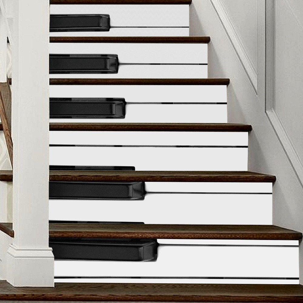 GJ-Blanco y negro 3D Teclas del piano escaleras escaleras con muro impermeableRegalos de Navidad: Amazon.es: Hogar