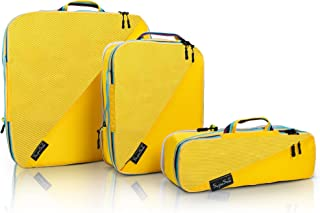 SupaSak Compression Packing Cubes, Travel Luggage Organizers (Yellow, 3 Piece Set)