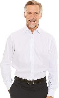 Savile Row Company Men's White Wide Herringbone Slim Fit Non-Iron Shirt - Single Cuff