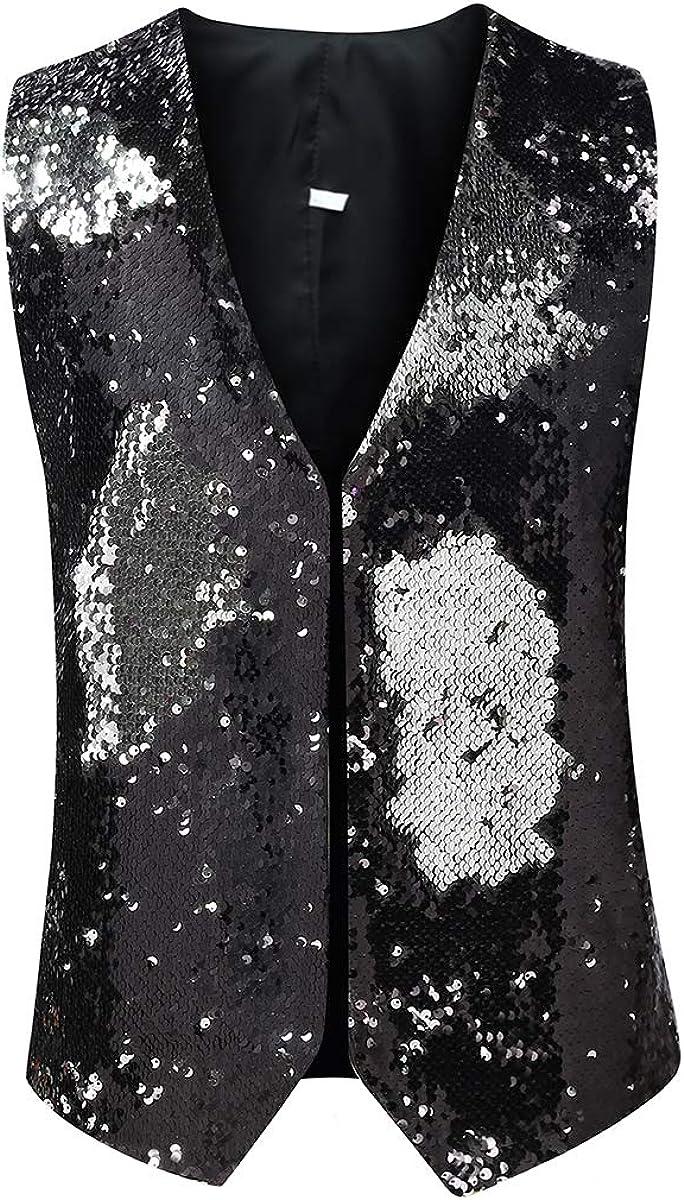 Men's 2 Color Reversible Sequins Vest Shiny Save money Outlet SALE Dress Party S V-Neck
