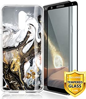 TJS Case for LG Stylo 5 2019, with [Full Coverage Tempered Glass Screen Protector] Ultra Thin Slim TPU Matte Color Marble Transparent Clear Soft Skin Protector Phone Case Cover (Black/White/Gold)