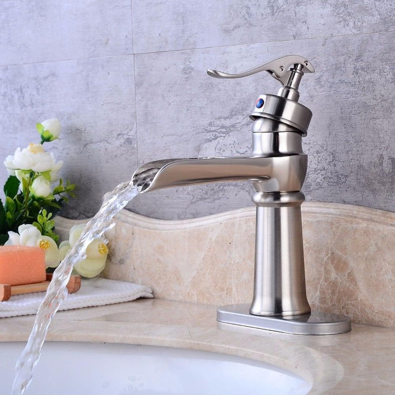 Lvsede Bad Wasserhahn Design Küchenarmatur Niederdruck Gebürsteter Wasserfall Heies Und Kaltes Wasser Keramikventil Einlochmontage Einhandgriff H1849