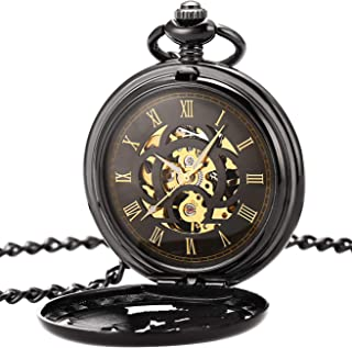 OYEAHO Mechanical Pocket Watches for Men, Lucky Dragon and Phoenix, Skeleton Pocket Watch with Chain