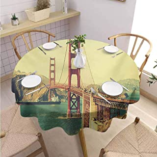 DILITECK Vintage Pad Round Tablecloth Old Film Featured Golden Gate Bridge Suspension Urban Path Construction Scenery Printed Tablecloth Diameter 50″ Blue Brown