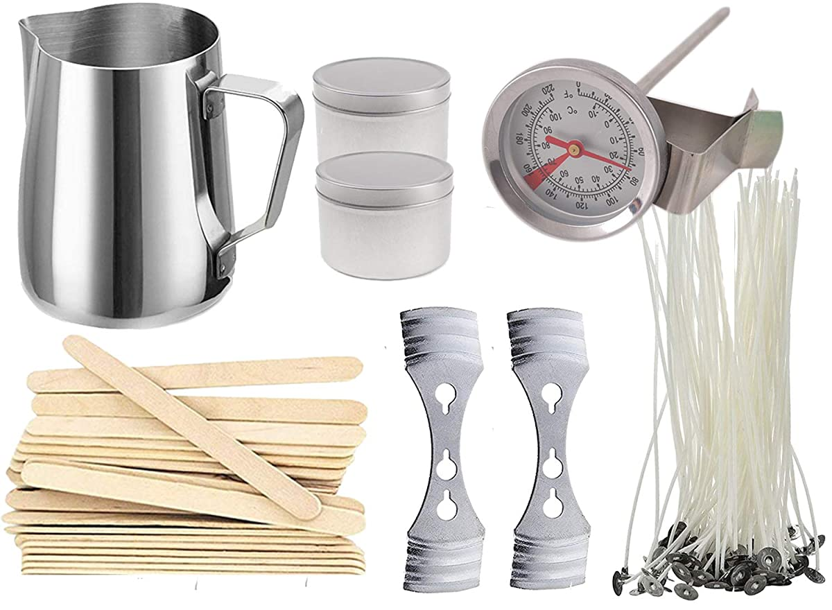 Buytra Candle Making Kit Includes 20 oz Stainless Steel Melting Pot, Prewaxed Candle Wicks, Wick Centering Device, Thermometer, 8 oz Candle Tins and Stirring Sticks - Make Your Own Candles at Home
