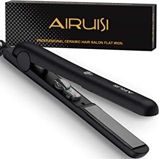 AIRUISI Ceramic Flat Iron For Hair, Professional Hair Straightener and Curler 2 in 1, 140°F~450°F Adjustable for All Hair Types, Safety Lock & Dual Voltage Perfect for Travel, 1 inch Ceramic Plates.