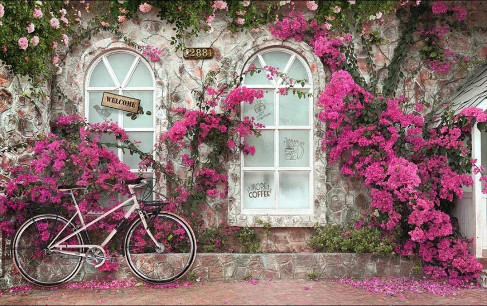Wemall Fondo de pantalla de bicicleta de puerta Flor Papel tapiz ...