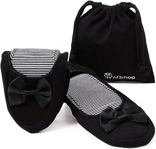 AQshop 改善版 携帯スリッパ レディース 折りたたみ リボン付き 持ち運び用収納袋付き 黒 22.5~25cm 大小2サイズ