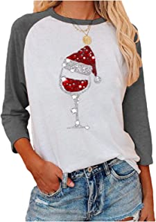 Comaba Women's Christmas Floral Printed O-Neck 3/4 Sleeve Blouse Tees Top
