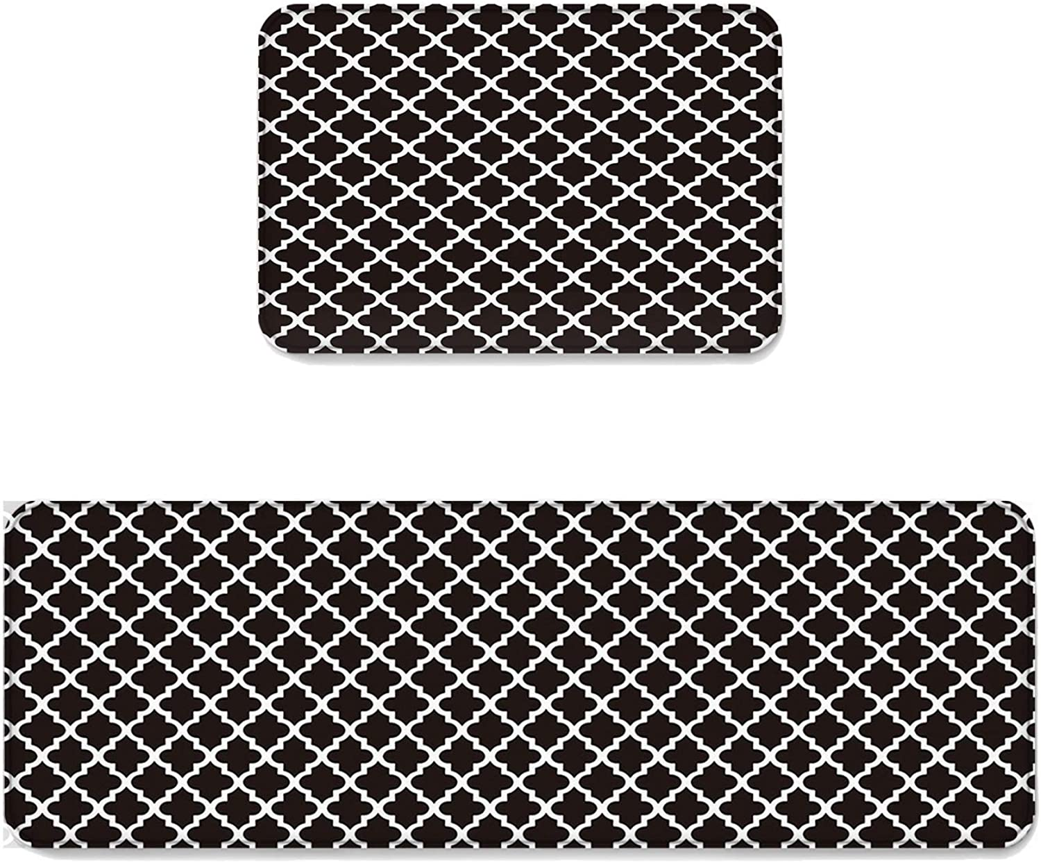 Fantasy Star Kitchen Rug Sets 2 Piece Floor Mats Non-Slip Rubber Backing Area Rugs Grid Geometric Pattern Doormat Rubber Backing Washable Carpet Inside Door Mat Pad Sets (19.7  x 31.5 +19.7  x 47.2 )