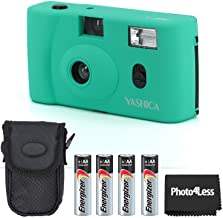 Yashica MF-1 Snapshot Art 35mm Film Camera Turquoise + Energizer AA Batteries (4 Pack)+ Case + Cloth