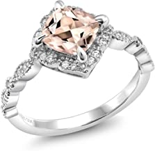 Gem Stone King 925 Sterling Silver Peach Morganite Women's Solitaire Ring (1.64 Ct Cushion Cut Available in size 5, 6, 7, 8, 9)