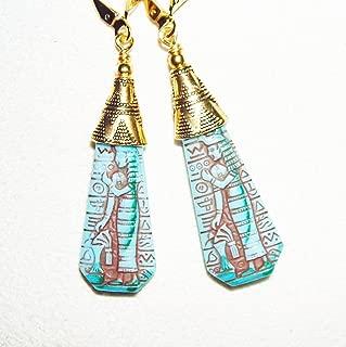 CZECH GLASS EGYPTIAN REVIVAL EARRINGS GOLD Plt PRESSED GLASS TURQUOISE BLUE PHARAOH SCENE STONE