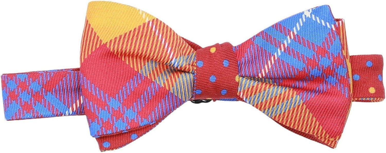 Edward Armah Men's Silk Double Sided Plaid Polka Dot Bow Tie