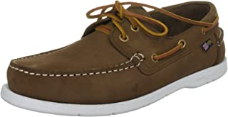 Arkansa Boat Shoes for Sailing Yachting - Deck Shoes Shoe Brown Nubuck - Contrast Stitch Detail