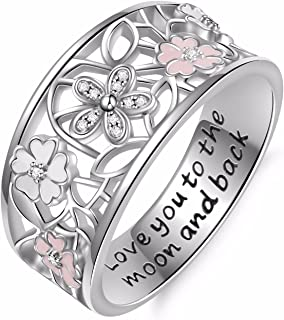 925 Sterling Silver Cubic Zirconia Flower Promise Ring for Women Jewelry Family Friend Love