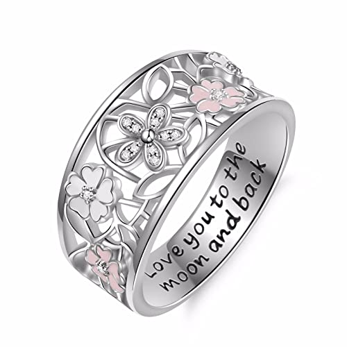 a1245ede96d6 Angemiel 925 Sterling Silver Cubic Zirconia Flower Promise Ring for Women  Jewelry Family Friend Love