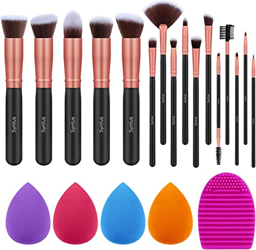 Syntus Makeup Brush Set 16 Makeup Brushes & 4 Blender Sponges & 1 Cleaning Pad Premium Synthetic Foundation Powder Ka...