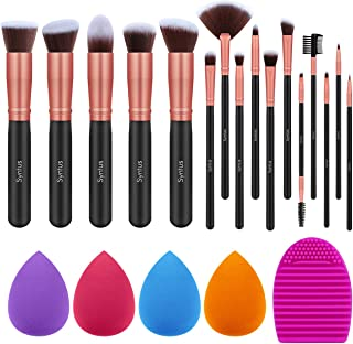 Syntus Makeup Brush Set, 16 Makeup Brushes & 4 Blender Sponge & 1 Brush Cleaner Premium Synthetic Foundation Powder Kabuki Blush Concealer Eye Shadow Makeup Brush Kit, Black Golden