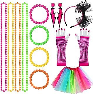80s Fancy Dress Costume Accessories 80s Retro Women Dresses Party 80s Fancy Party Costume Accessories Set with Neon Rainbo...