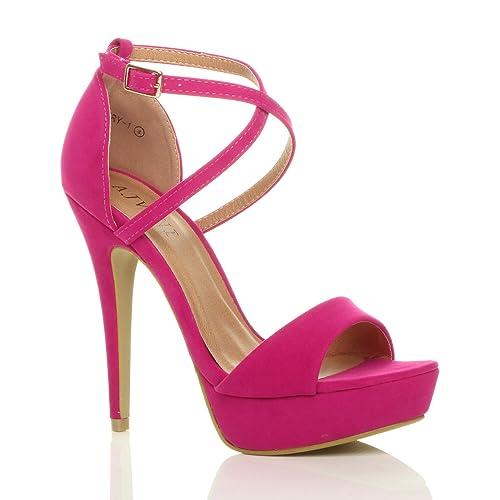 1af09ec4a70 Womens Ladies Platform high Heel peep Toe Cross Over Strappy Sandals Shoes  Size