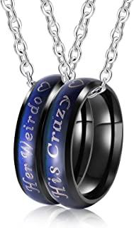 2PCS Mens Womens Stainless Steel Couple Ring Necklace Her Weirdo His Crazy Mood Rings Pendant Necklace with O-Chain Black