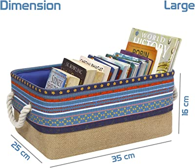 HomeStorie® Eco-Friendly Cloth Storage Basket Bin Organizer with Lid (Drawstring Closure), Set of 2 (AR2283)