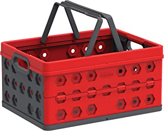 Cosmoplast IFCRFL001RD Multipurpose Collapsible Crate Foldable Storage Basket, Red, 32 Liters, Plastic