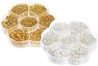 Baoblaze 2 Boxes Iron Open Jump Ring Gold & Silver DIY Jewelry Findings Connector Mix Sizes