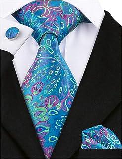Barry.Wang Flower Ties for Men Handkerchief Cufflinks Set Wedding Necktie