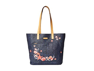 Vera Bradley Front Pocket Straw Tote (Navy Sea Life) Tote Handbags