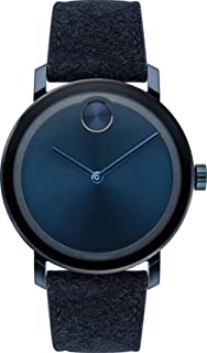 Movado Bold 3600613 Blue Ion-Plated Stainless Steel Leather Fabric Men's Watch