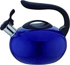 Whistling 2.8 Quart Food Grade Stainless Steel Blue Tea Kettle, Anti-Hot C Handle, Anti-Rust Suitable for All Heat Sources Teapot by American Dream