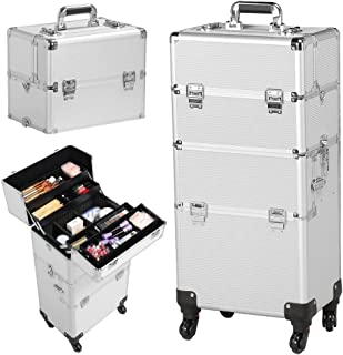 Gotobuy 3 in 1 Train Makeup Cosmetic Cases Rolling Box Nail Technician Toolbox Wheel Silver Makeup Case Trolley
