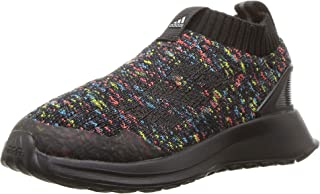 adidas Baby RapidaRun Laceless Knit Running Shoe, Black/Shock Cyan/Active red, 5K M US Toddler