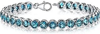 19.00 carats Round Cut London Blue Topaz Tennis Bracelet in Sterling Silver Rhodium Nickel Finish