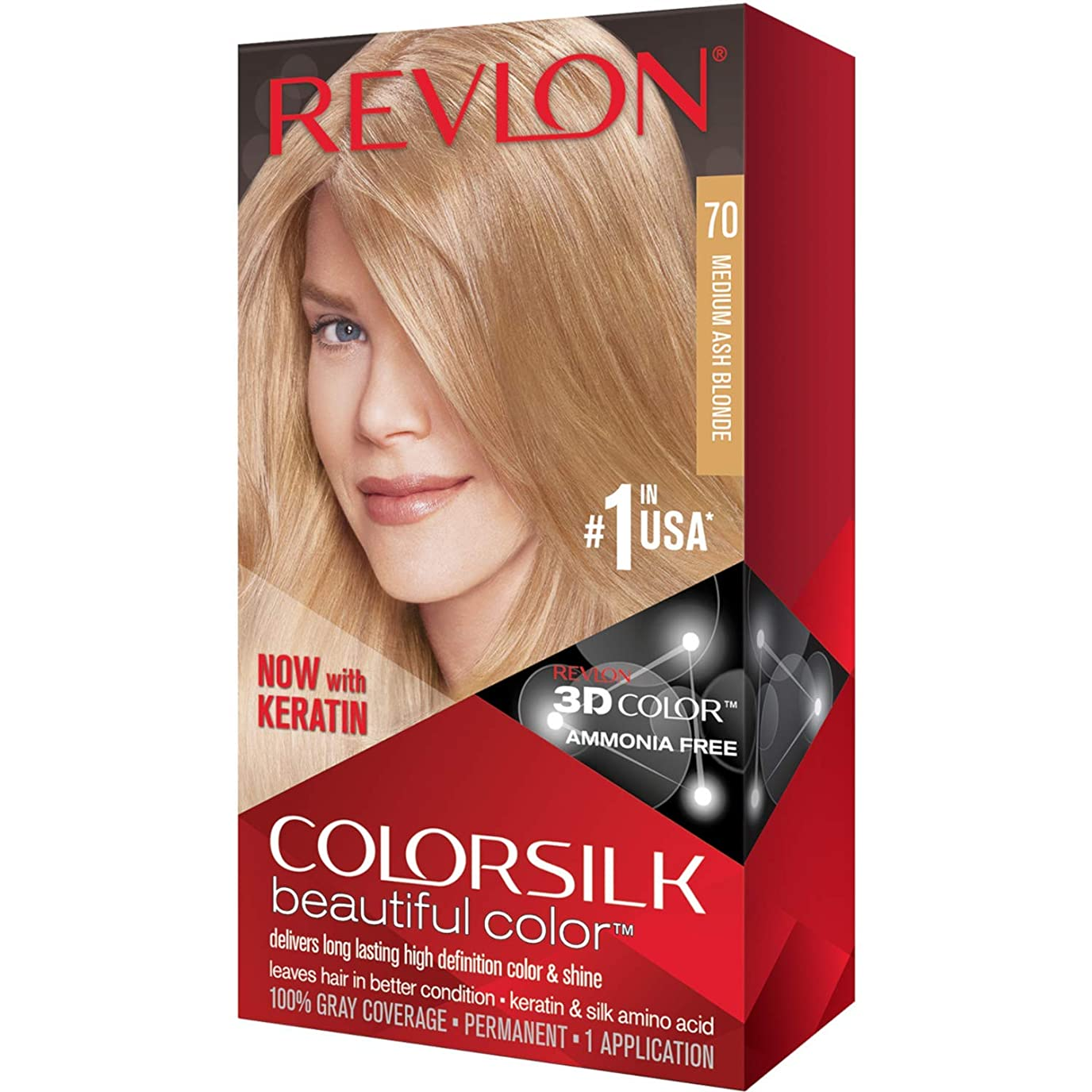 パワーセル趣味ビヨン海外直送品Revlon Colorsilk Natural Hair Color, 7A Medium Ash Blonde each by Revlon